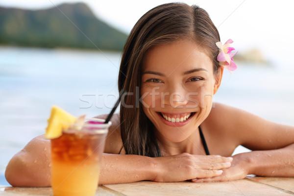 Hawaii nő ital tengerpart ázsiai turista Stock fotó © Maridav