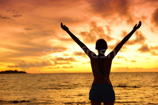 Freedom woman silhouette living a happy free life Stock photo © Maridav