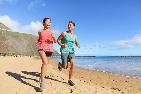 Stockfoto: Lopers · lopen · strand · jogging · paar · opleiding