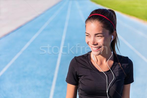 Foto stock: Feliz · seguir · corrida · menina · corredor · ouvir · música
