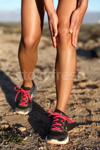 Foto stock: Joelho · dor · trilha · corrida · raça · ferimento