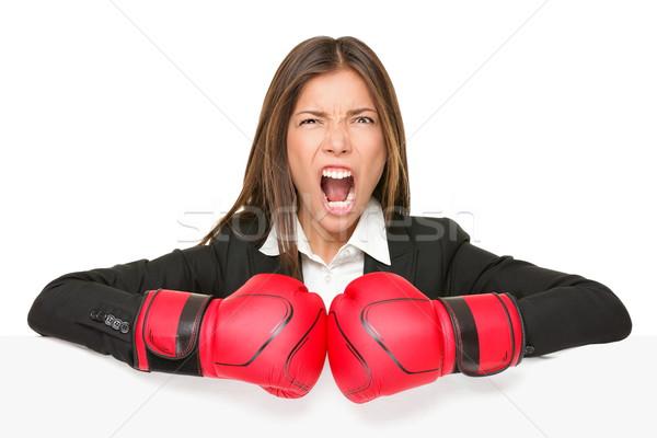 Stockfoto: Business · teken · boksen · vrouw · boos · zakenvrouw