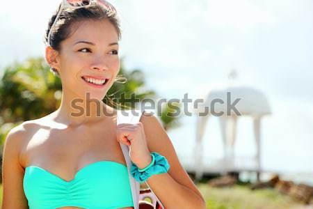 Сток-фото: Летние · каникулы · женщину · счастливым · сидят · гамак · пляж