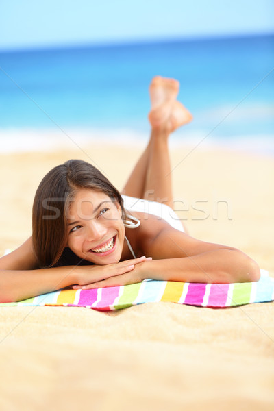 Vacaciones playa mujer relajante mirando Foto stock © Maridav