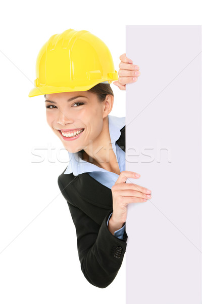 Engineer entrepreneur business woman showing sign Stock photo © Maridav
