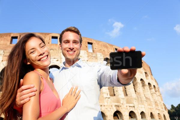пару смартфон Рим Колизей Италия Сток-фото © Maridav