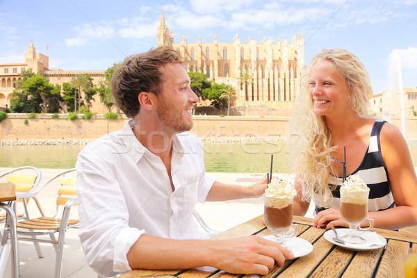 Cafe couple dating drinking coffee cappuccino Stock photo © Maridav