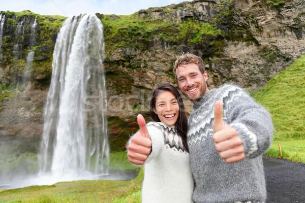 Stok fotoğraf: İzlanda · çift · kazak · çağlayan