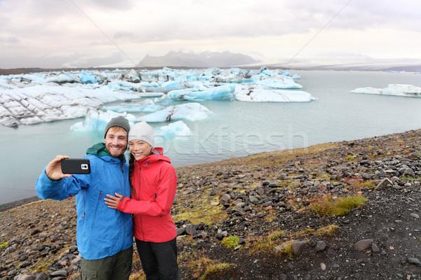 Travel couple taking selfie self portrait Iceland Stock photo © Maridav