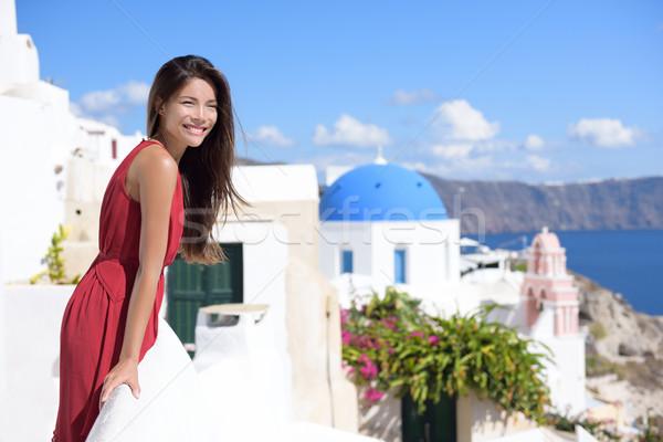 Stok fotoğraf: Santorini · adası · turizm · Asya · kadın · yaz · seyahat