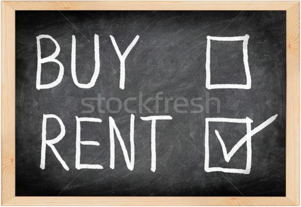 Foto stock: Alugar · não · comprar · lousa · escolher · casa