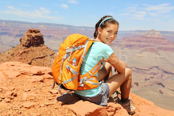 Grand Canyon escursionista ritratto donna riposo escursioni Foto d'archivio © Maridav