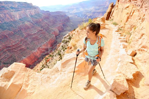 Escursionista donna escursioni Grand Canyon piedi sani Foto d'archivio © Maridav