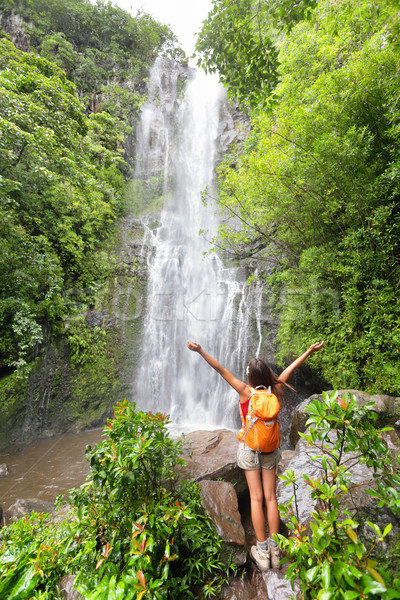 Happy hiker - Hawaii tourists hiking by waterfall Stock photo © Maridav
