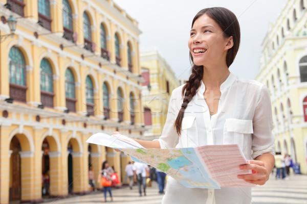 Tourist holding travel map in Macau Stock photo © Maridav
