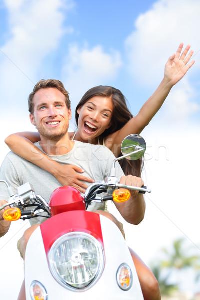 ストックフォト: 幸せ · カップル · 運転 · スクーター · 夏