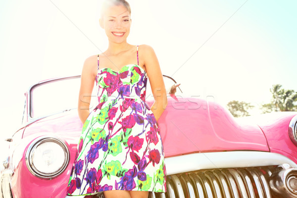 Vintage woman and car Stock photo © Maridav