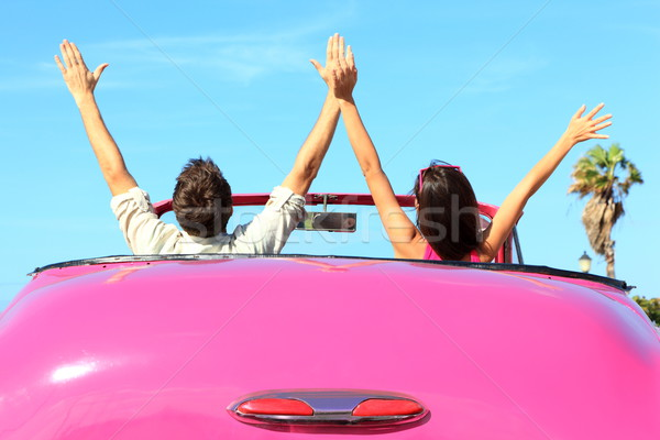 Stock photo: Freedom - happy free couple in car