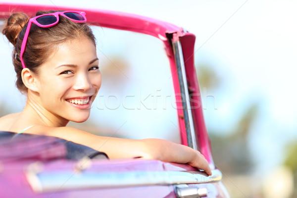 Auto vrouw gelukkig oldtimer oude roze Stockfoto © Maridav