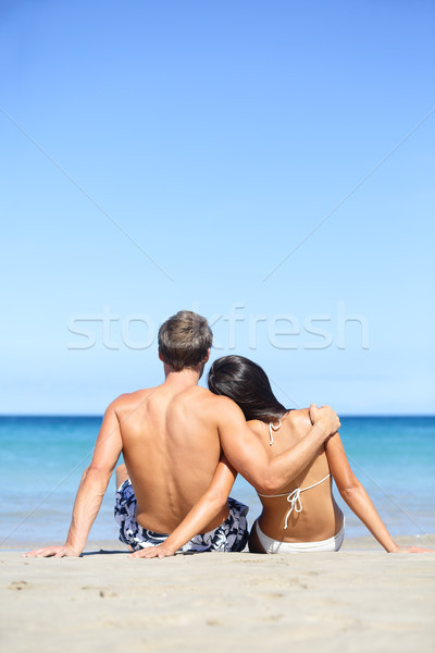 Beach lifestyle couple in love on vacation Stock photo © Maridav