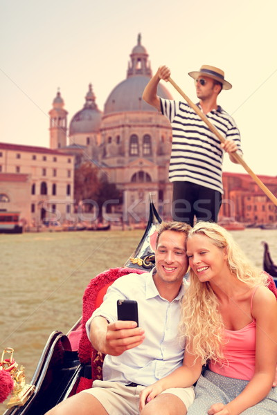 Couple in Venice on Gondola ride on canal grande Stock photo © Maridav
