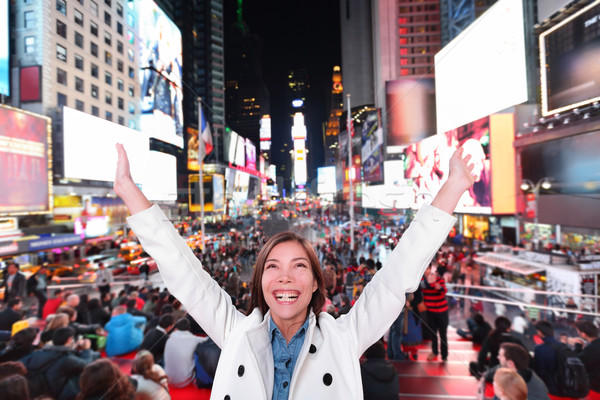 Happy excited woman in New York, Times Square Stock photo © Maridav