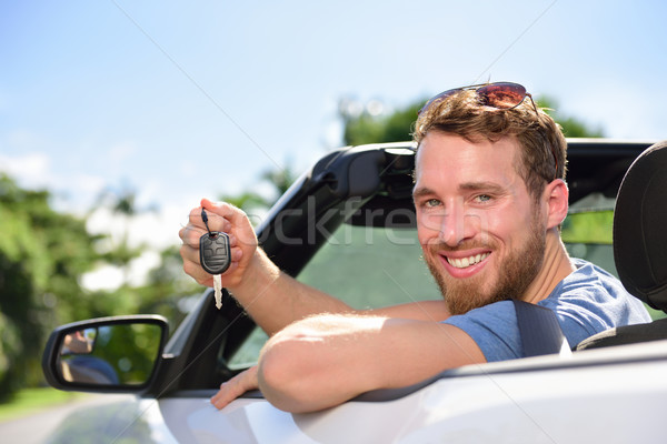 Man driving new rental car showing keys happy Stock photo © Maridav