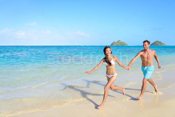 Beach vacations - happy holidays in Hawaii Stock photo © Maridav