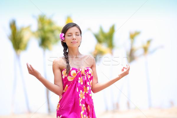 ストックフォト: 瞑想 · 禅 · 女性 · 瞑想 · ハワイ · ビーチ