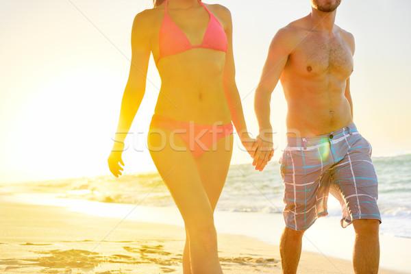 Summer beach couple romantic holding hands sunset Stock photo © Maridav