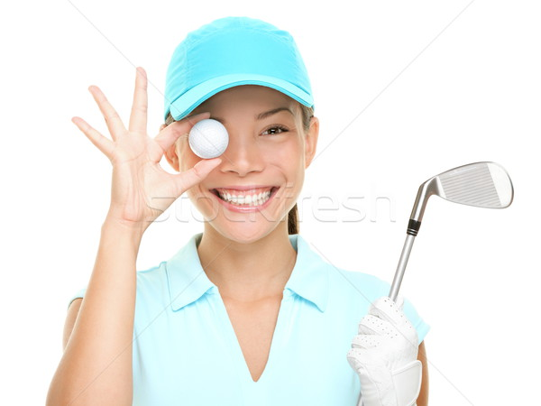Golf ball woman holding club Stock photo © Maridav