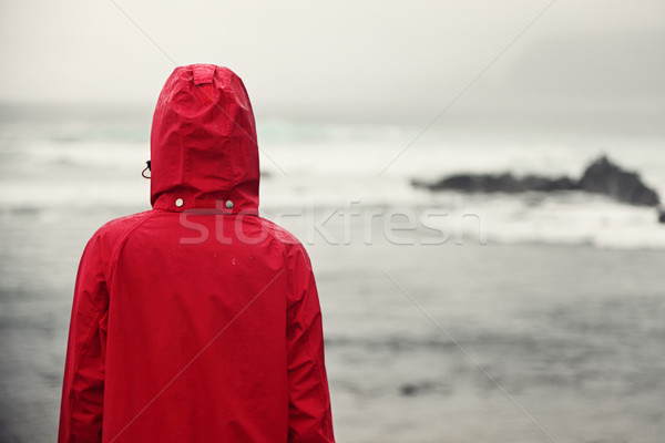 Fall woman in rain looking at ocean Stock photo © Maridav