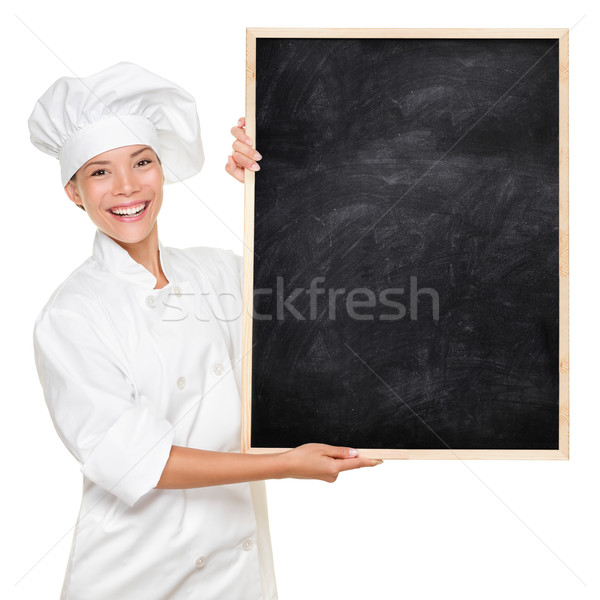 Foto stock: Chef · sinal · mulher ·  ·