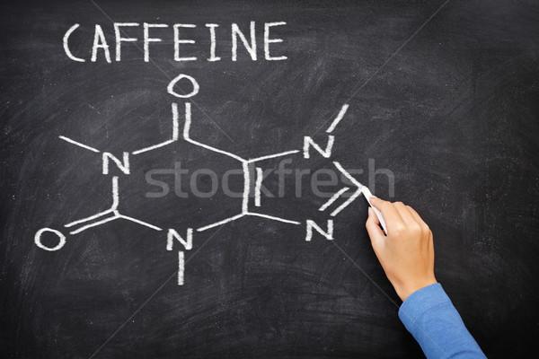 Kafein kimyasal yapı tahta çizim kara tahta Stok fotoğraf © Maridav