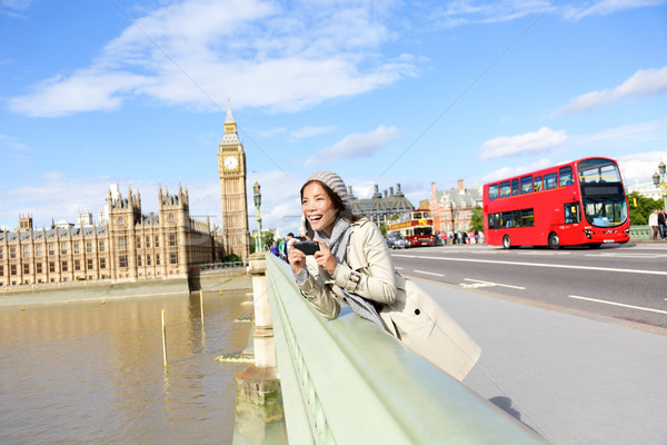 London travel woman tourist by Big Ben and red bus Stock photo © Maridav
