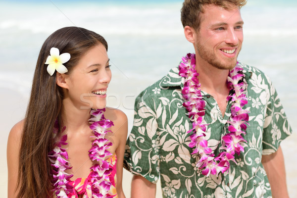 Happy Hawaii beach couple in Aloha Hawaiian shirt Stock photo © Maridav