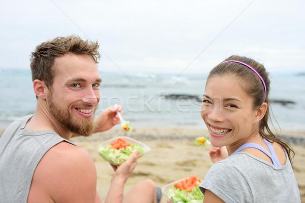 完全菜食主義者の 友達 食べ ベジタリアン サラダ ランチ ストックフォト © Maridav