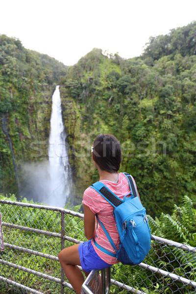 ハワイ 旅行 観光 女性 見える 滝 ストックフォト © Maridav