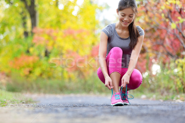 Loopschoenen vrouw runner schoen kant lopen Stockfoto © Maridav