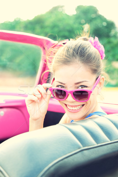 Stock photo: Vintage woman in retro car
