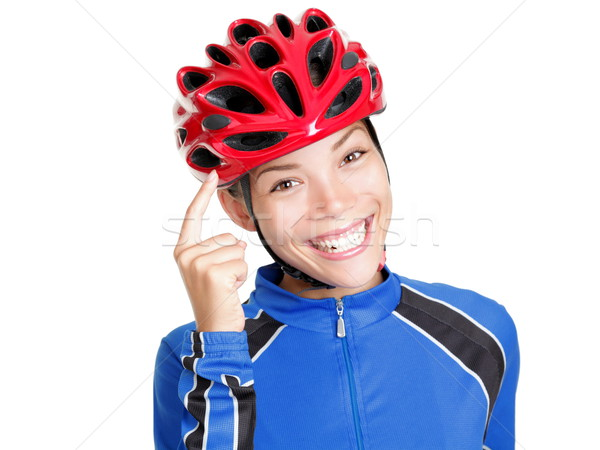 Stock photo: Biking helmet woman isolated