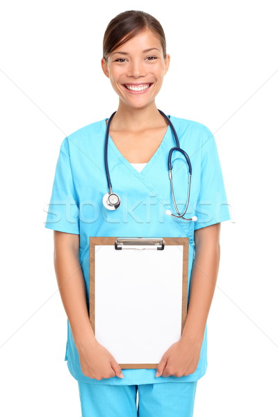 Foto stock: Jovem · médico · enfermeira · médico · mulher · jovem · isolado