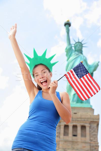 Tourist at Statue of Liberty, New York, USA Stock photo © Maridav