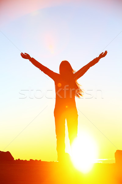 Gelukkig juichen vieren succes vrouw zonsondergang Stockfoto © Maridav