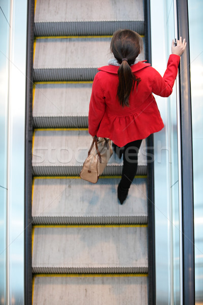Urbaine personnes femme banlieue marche escalator Photo stock © Maridav
