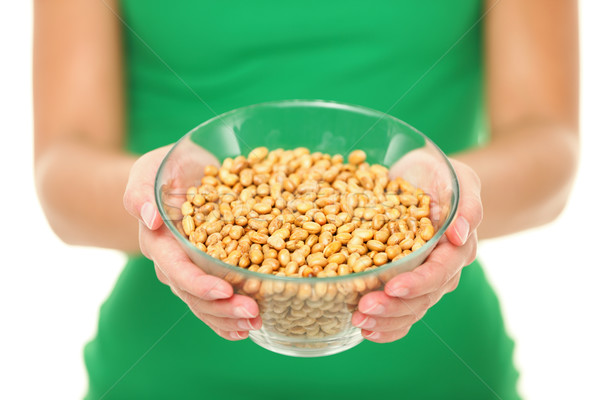 Dried salty soybeans - healthy snack Stock photo © Maridav