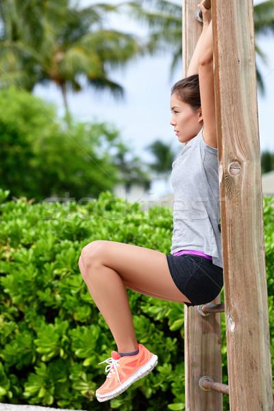 行使 女性 トレーニング ビーチ ジム フィットネス女性 ストックフォト © Maridav