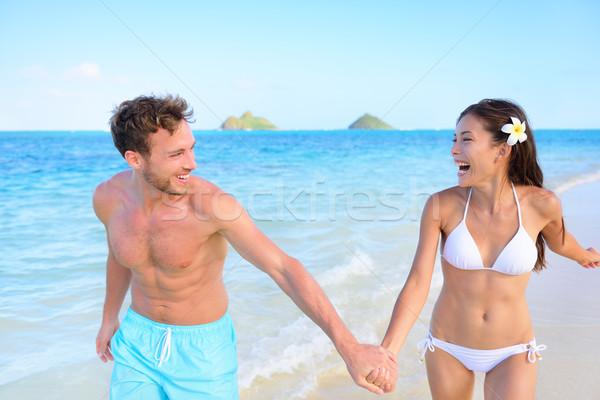 Stockfoto: Leuk · strand · paar · gelukkig · relatie · lopen