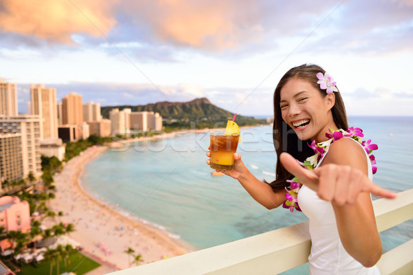 Hawaii vacation - Mai Tai and Aloha spirit woman Stock photo © Maridav
