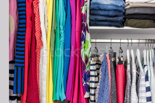 Organized home clothing closet or shopping display Stock photo © Maridav